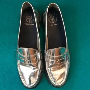 Cole Haan Pinch Maine Classics Silver Loafers S9